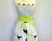 Cute Bennett Apron in Hummingbird & Dots - adorable ruffle -Made to Order