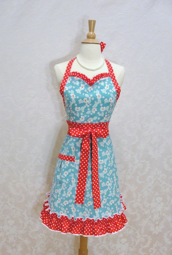 Adorable Floral Sweetheart Flirty Skirty Apron in Aqua - Red and White Polka Dots - Ready to Ship