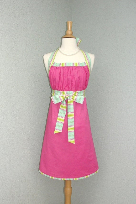 Reserved for Yu Sonoda Only - Flirty Bodice Empire Waist Apron in Fuschia and  Soft Seafoam Green Stripe - Reversible -  Ready to Ship