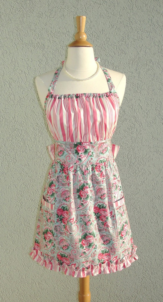 Cute Bennett Apron  in Aqua Rose Paisley Floral with a Candy Cane Ticking Stripe with a flirty ruffle - Ready to Ship