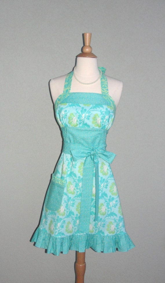 Aqua Spring Floral Empire Waist Sundress Style Apron with a Flirty Ruffle with Amy Butler Fabric - Ready to Ship
