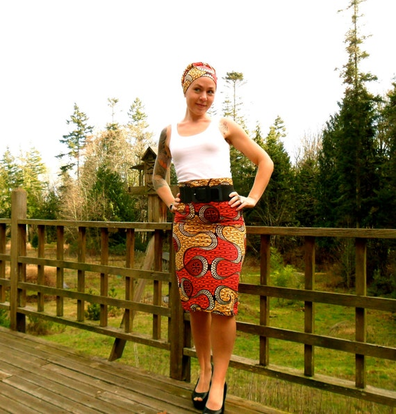 Items similar to African Print High Waist Pencil Skirt on Etsy