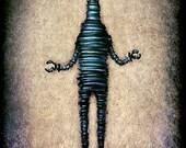"""Robot Art Magnet  - 2x3"""" strong magnet - from Original Painting - Artist Made"""