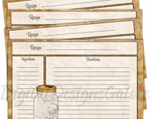 Printable Recipe Cards - PDF - 4x6 size DIY recipe cards - Mason Jar Recipe Cards - Digital Designs Galore