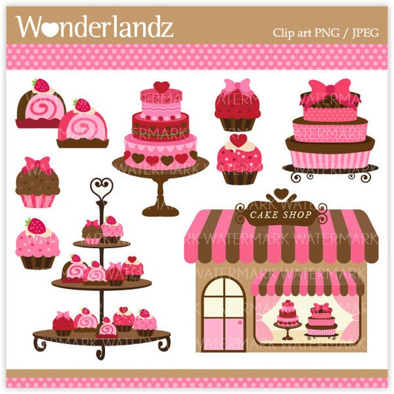 E Art And Cake Boutique : ZA16 Pink Cake Shop digital clip art cake pink by wonderlandz