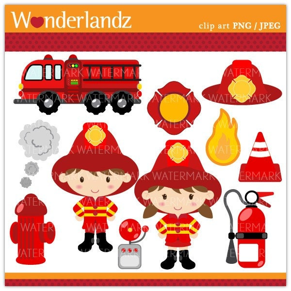 ZA17 Fire Fighter Kids digital clip art fireman by wonderlandz