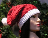 """Slouchy Hat with Pom Pom for Adult in Red and (White) Snow """"Shimmer"""" - READY TO SHIP  :)"""