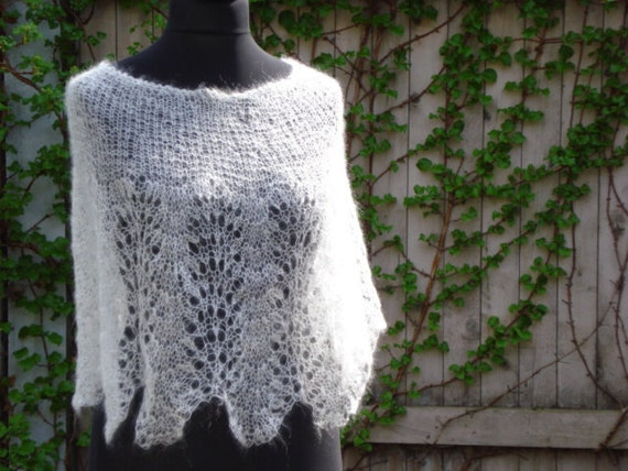 Airy White Hand Knitted Lace Capelet, Shrug, Cowl