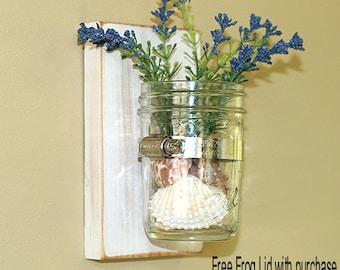 Mason Jar Vase Shabby Chic Weathered Cottage White Wooden Wall Hanging Mason