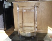 Vintage Round Serving Cart in Lucite with Channeled Base (Reduced)