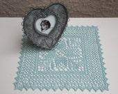 Hand crocheted doily, new, 9 inch square, aquamarine doily, light ocean sea blue green, table decor, frame for wall decor