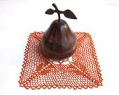 Hand crocheted doily, new, burnt orange, 9 inch square