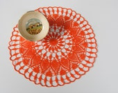 Hand crocheted, new, 13 and one half inch round, orange doily, sunflower, home table decor, frame for wall decor