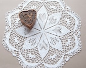 Doily // Hand crocheted // Snow white // Gift for the Home // hearts // table element // frame for wall decor