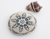 crochet lace stone, rustic beach, cream lace, dark turquoise gray river rock, housewarming gift, wedding decor, bowl element