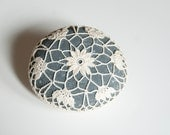 crochet lace stone // rustic beach // dark turquoise gray river rock // cottage chic // Wedding decor // ring bearer pillow