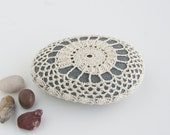 RESERVED  Crochet Lace  Stone // Rustic Beach // Natural Beige // Wedding // Ringbearer Pillow // Gift for the home // Gift for her
