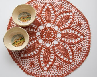 Crochet Doily, tabletop decor, lace centerpiece, rust, harvest orange, heirloom quality, cottage chic, mothers day, home decor