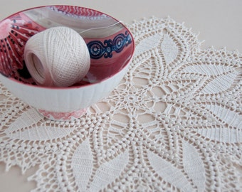 Crochet doily, lace centerpiece, cotton, light ecru thread, home decor, tabletop decor, 16 inches round, intricate detail, heirloom quality