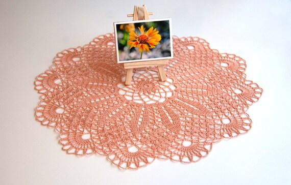 Hand crocheted doily, new, peach 14 one half inch round