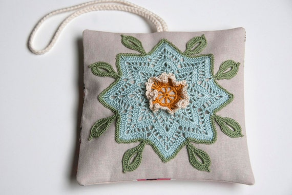 Lavender sachet pillow, hand crocheted floral applique, shabby chic home decor, gift for her