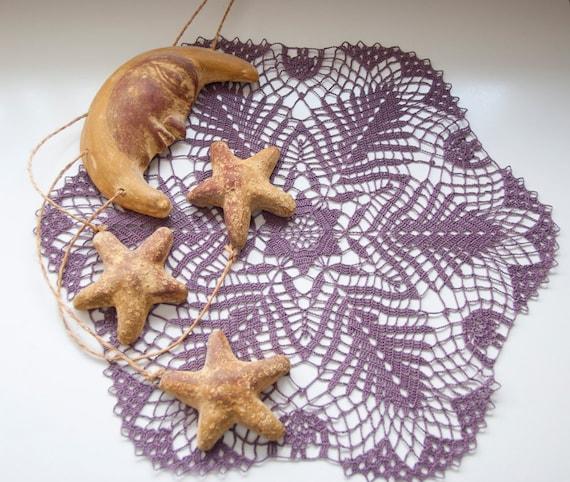 Crocheted doily, dark violet, aubergine, eggplant, grape, purple, table decor, frame for wall decor