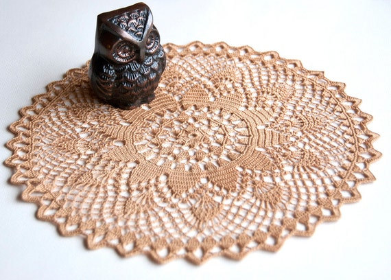 RESERVED Cottage chic // Driftwood brown // Doily // Hand crocheted // Gift for the home // Housewarming Gift