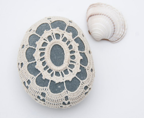 Hand crochet lace stone rustic beach cream lace dark turquoise river rock housewarming gift shabby chic wedding party decor
