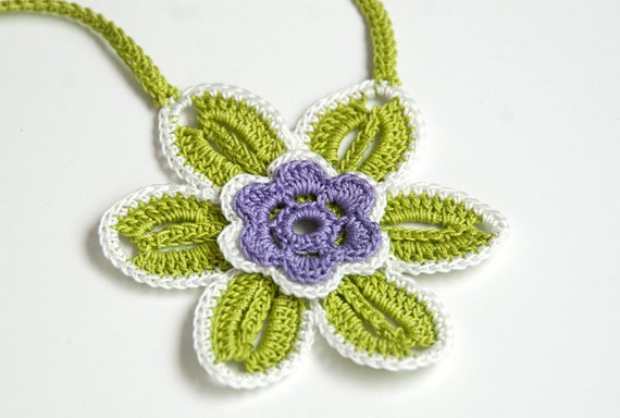 Flower Jewelry, crocheted fashion necklace, green, lime, purple and white vintage flower pattern