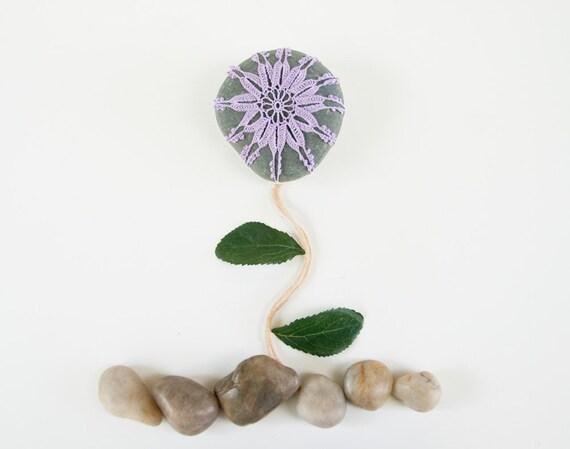Crochet lace beach stone, lavender flower, dark river rock, wedding decor, shabby chic, housewarming gift