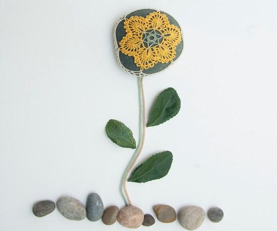 Crochet lace beach stone, gold flower, dark river rock, wedding decor, shabby chic, housewarming gift