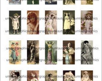 1 x 2 Inch Vintage Women Digital Collage Sheet