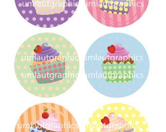 2.5 Inch x 2.5 Inch Cupcake Circle Collage Sheet for Pocket Mirrors