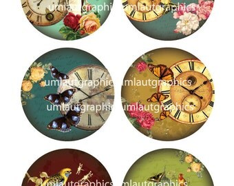 2.5 Inch x 2.5 Collage Sheet Inch Vintage Clocks Butterflies Roses for Pocket Mirrors
