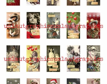 Christmas Digital Collage Sheet 1 x 2 Inch