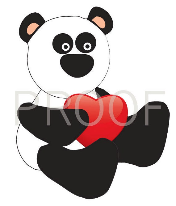 Panda Bear with Heart Transfer Downloadable Printable  Valentines