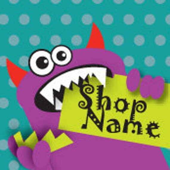 Monster Premade Etsy Shop Banner and Avatar