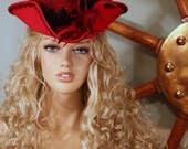 18th Century - Victorian Red and Black Ladies Tricorn Hat - Marie Antoinette - Pirate