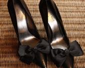 Black Ribbon Bow Shoe Clips
