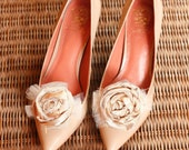 Cream and Tan Taffata and Tulle Hand Rolled Rosette Shoe Clips / Nude Pump Accessory / Treasury Featured