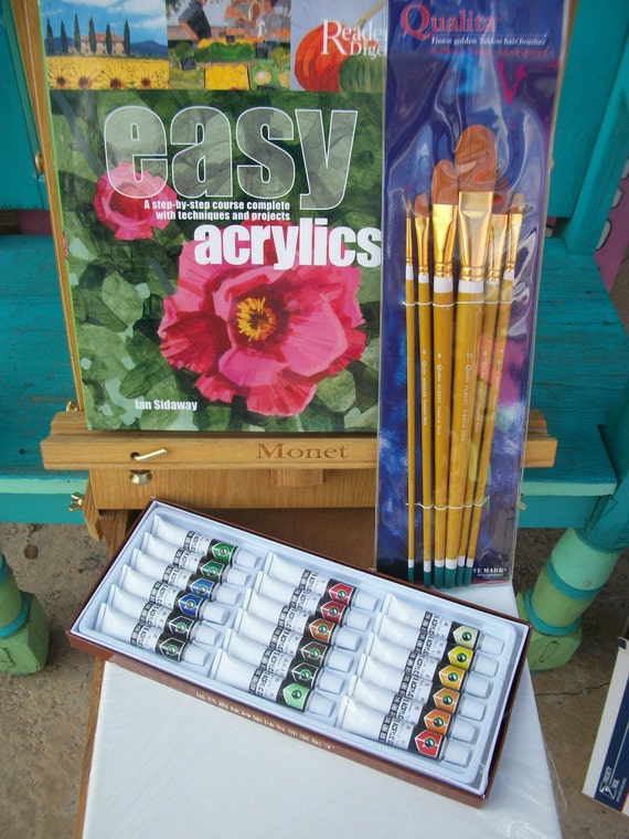 Acrylic Painting Gift Set. Brand New Supplies, 18 Color Tubes, 6 Professional Brushes, Canvas, Hard Cover Instruction Book