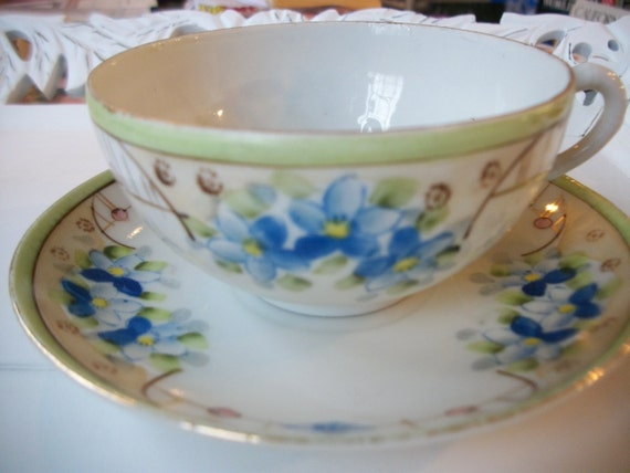 Blue Floral Tea Cup, Dainty and Delicate, Hand Painted Bone China.  1960's Japan.  Organic Papaya Mint Teabags.