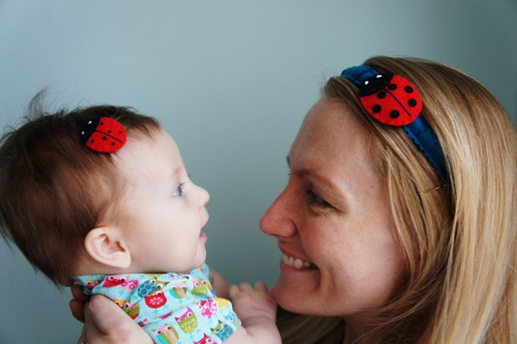 matching handmade hair clips:  Mother's day Big mama and baby lady bug