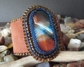 RESERVED FOR bs-------Bead Embroidered Dream Agate Leather Cuff Bracelet