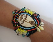 RESERVED FOR bs------Bead Embroidered Bone Voodoo Leather Cuff Bracelet OOAK