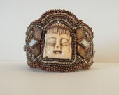 RESERVED FOR bs-------Bead Embroidered Buddha Bone Cuff Bracelet