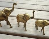 Vintage Brass Trio of Elephants