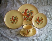 Vintage 5 Piece Place Setting of Taylor Smith & Taylor Reveille Rooster Pattern Dinnerware