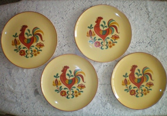 4 Vintage Dinner Plates from Taylor Smith & Taylor Reveille Rooster Pattern Dinnerware
