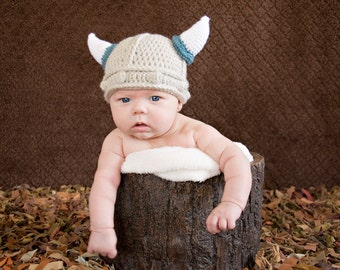 Baby Boy Viking Hat and Diaper Cover Set 0-6 MO